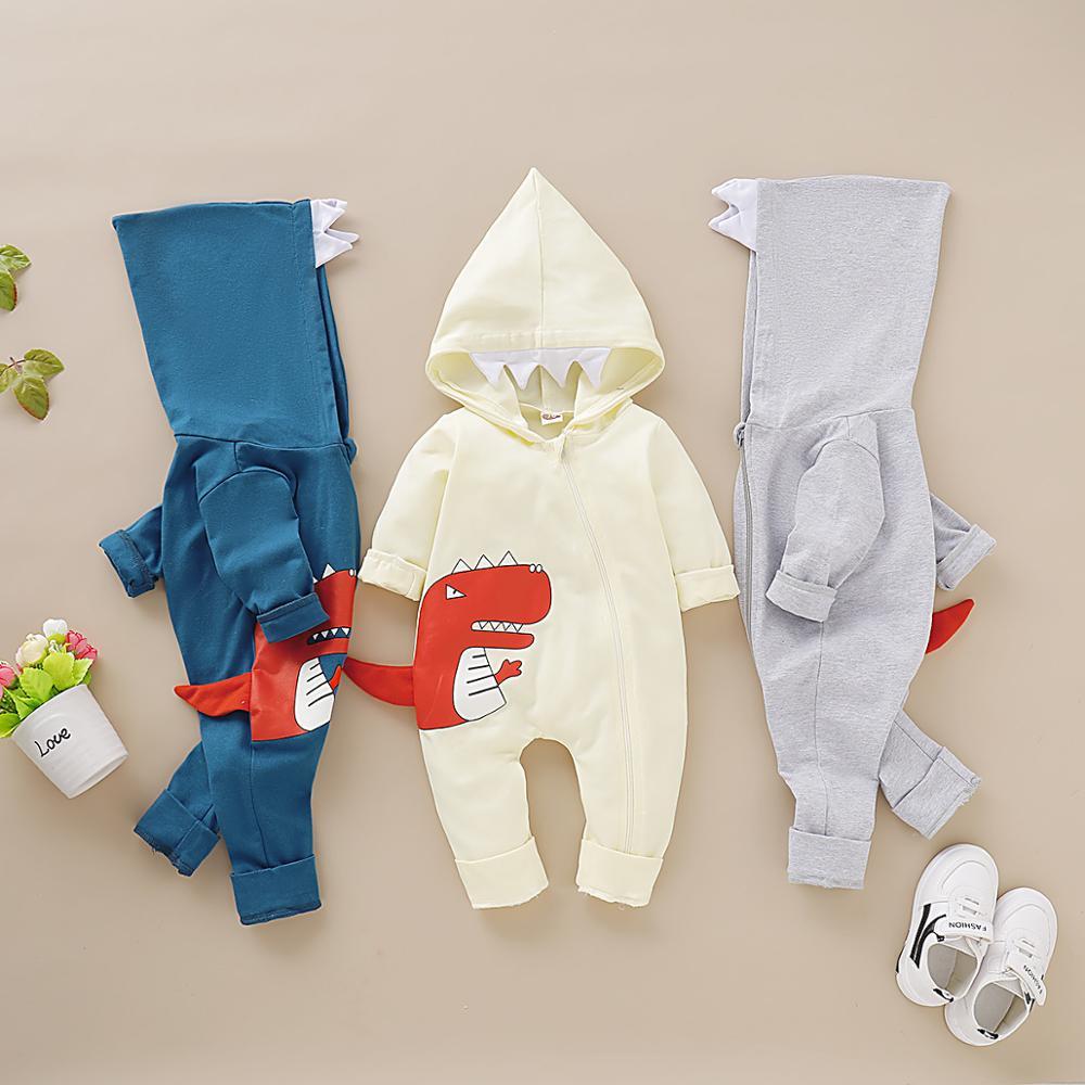 Детские комбинезоны с длинными рукавами, Комбинезоны для маленьких девочек с капюшоном на молнии, пижамы для младенцев, хлопковые комбинез...
