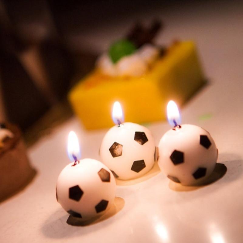 6 unids/set de velas de fútbol para fiesta de cumpleaños chico suministros de decoración