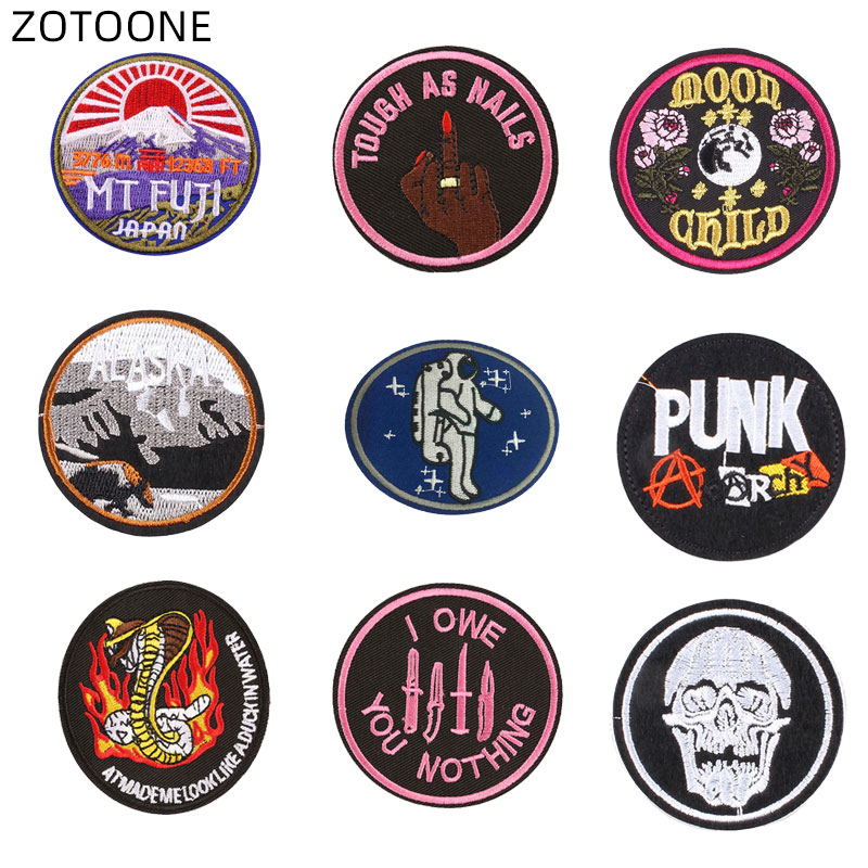 ZOTOONE Iron on Badge Punk Sew on Patch for Clothes Jeans Embroidered Skull Patches for Clothing DIY for Kids Fabric Applique G