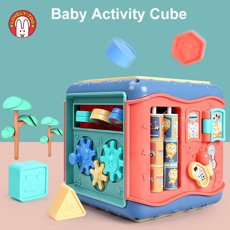 Baby Toys Activity Play Cube Six-Sided Box Montessori Shape Match Infant Development Educational Toy