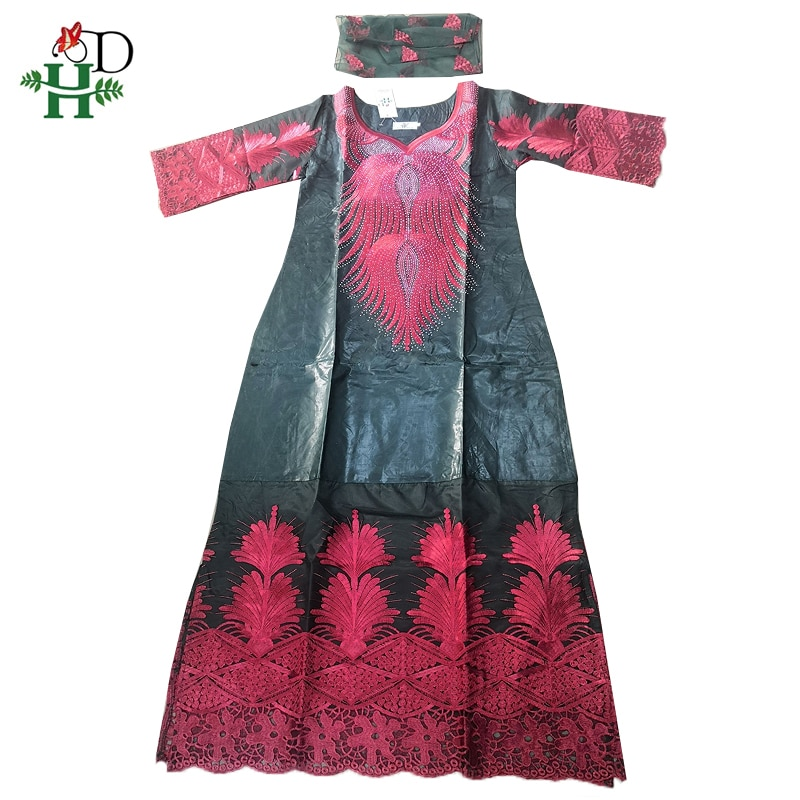 H & d bordado flores vestidos africano roupas para mulher tradicional bazin riche maxi vestido feminino nigeriano gele headtie