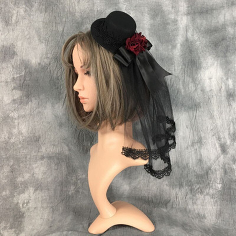 Black Veil With Hat Headdress Small Hat Flat Hat Retro Lace Veil 30M  Gothic Diablo Series Wedding Hair Accessories fingertip veil with small flowers