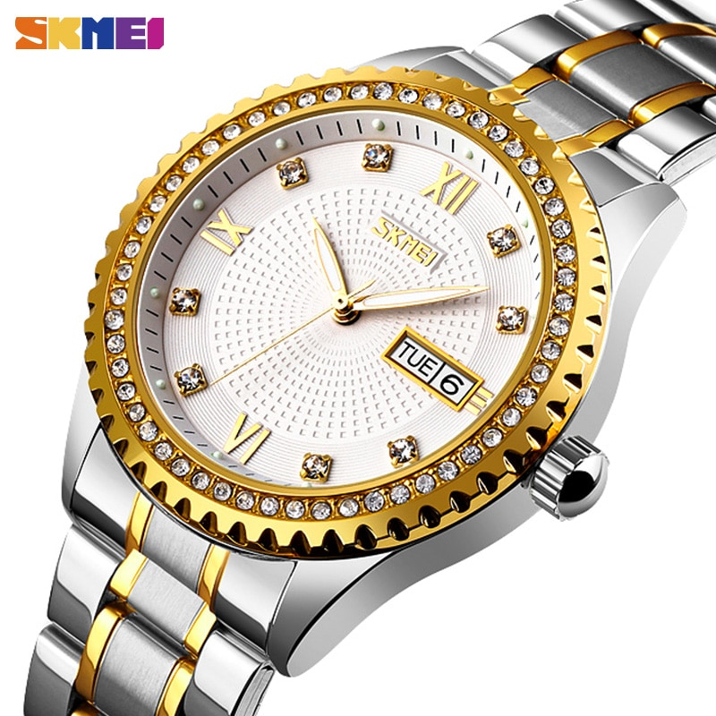 Top Luxury Automatical Mens Watches Hollow Diamond Mechanical Wristwatches Date Week Automatic Men Watch Relogio Masculino SKMEI