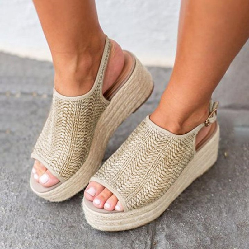 Thick Womens Sandals Peep Toe Platform Summer Shoes For Women Hollow Out Gladiator Casual Ladies Beach Woman