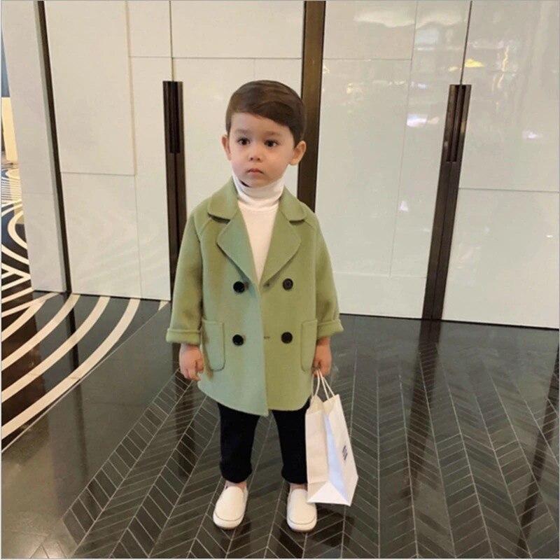 Шерстяная куртка для маленьких мальчиков и девочек; Длинное двубортное теплое твидовое пальто с отворотом для малышей; Сезон весна-осень-зима; Детская верхняя одежда-2