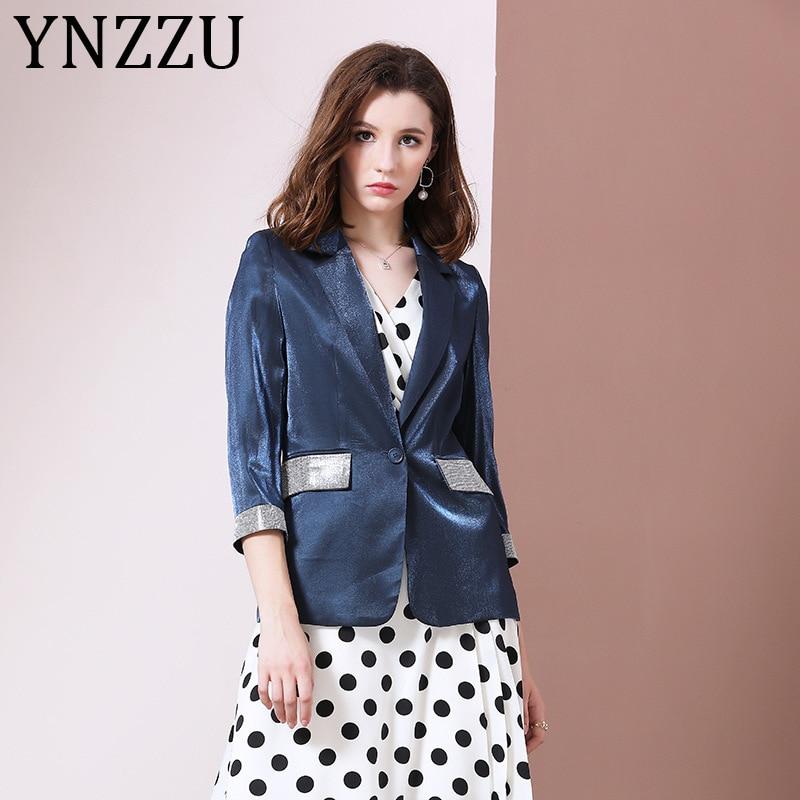YNZZU elegante Oficina señora Blazer abrigo mujer 2020 primavera otoño satén Blingbling manga larga Fitness chaqueta femenina Outwears A1309