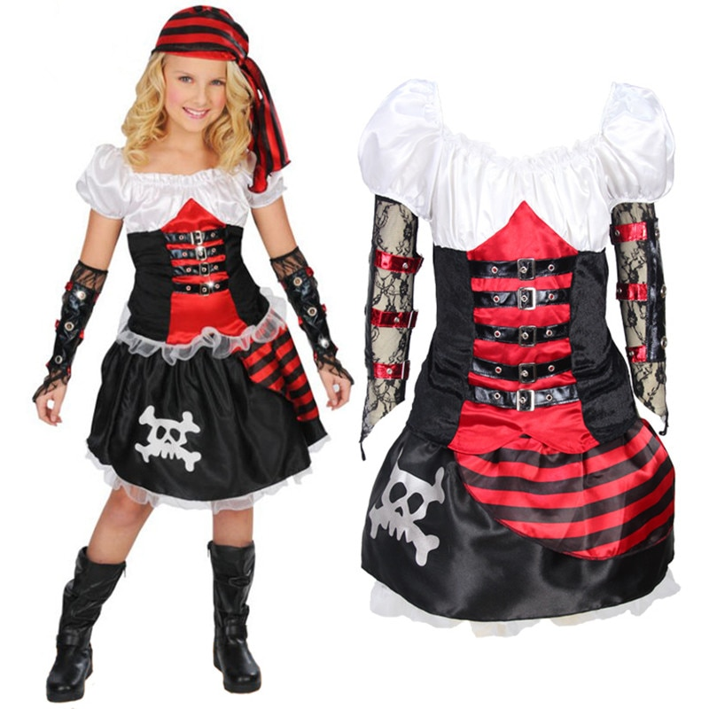 children's pirate costume for girls carnival costume pirate party supplies pirate clothing skull clothing halloween costumes