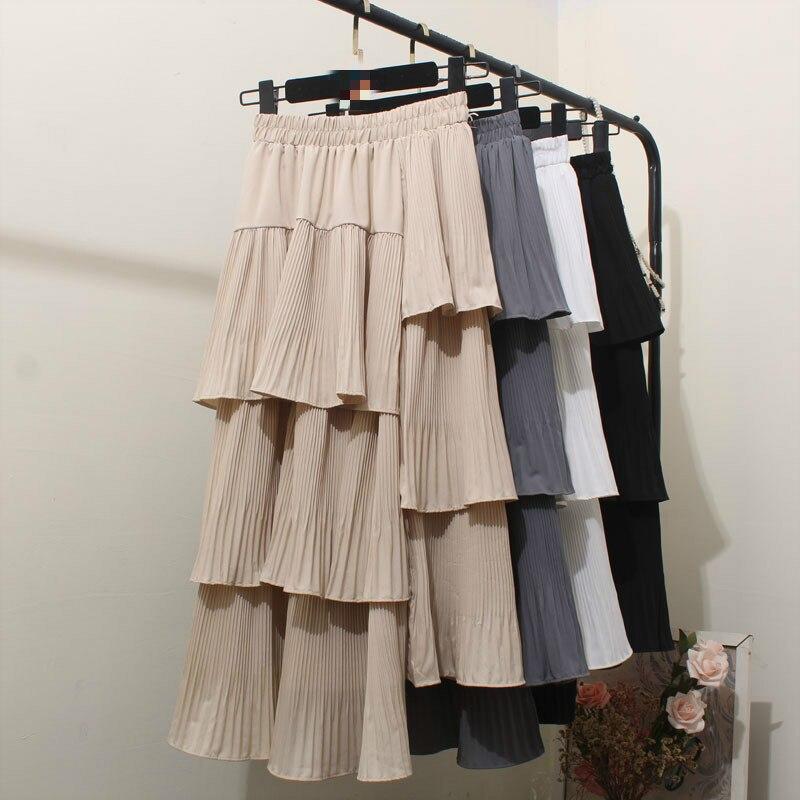 ¡Novedad de 2020! Faldas de verano para mujer, faldas largas y lisas de chifón, faldas casuales plisadas con cintura alta y pliegues, ropa de calle para mujer