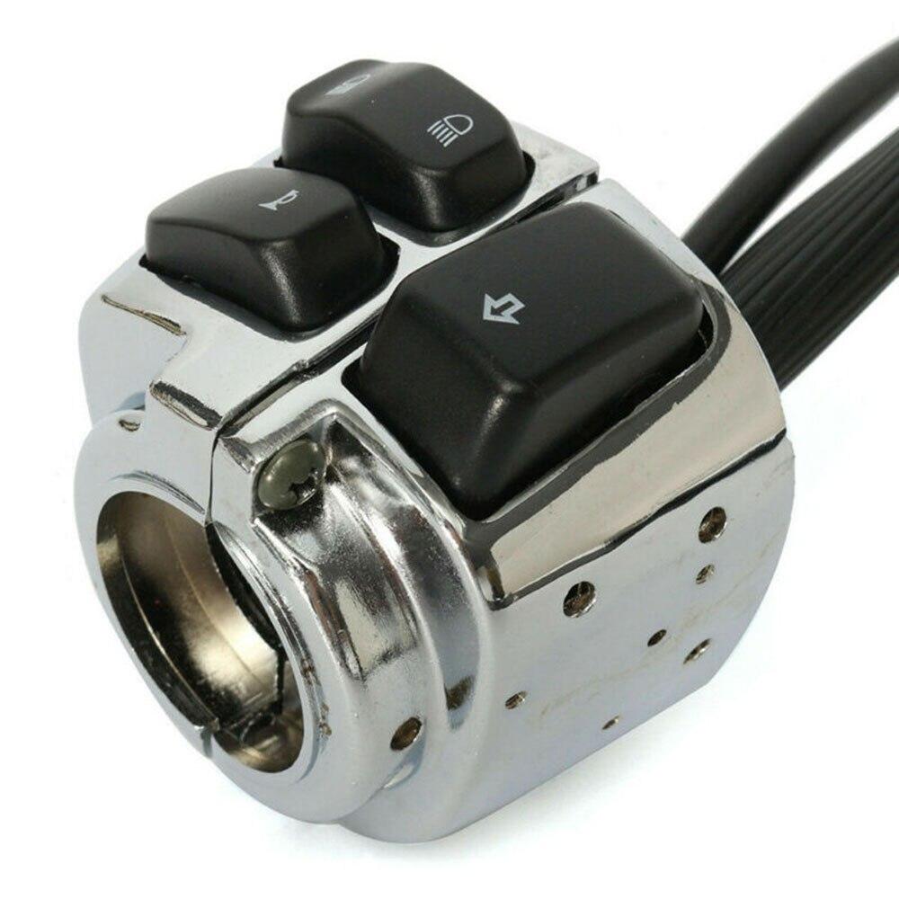 Interruptor de accesorios motocicleta 1 par de manillar eléctrico de aluminio plateado