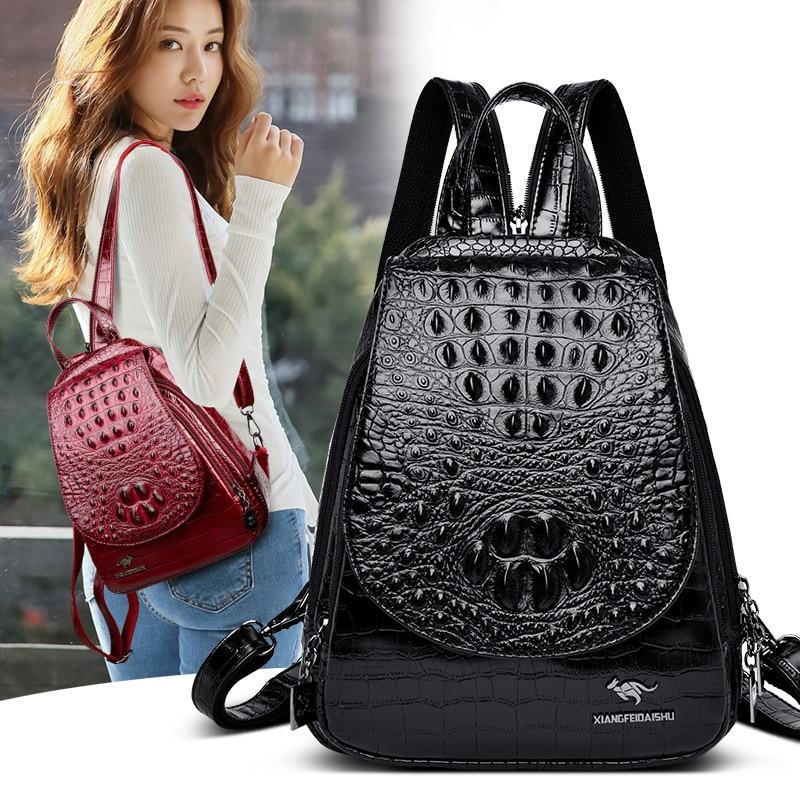 Alligator Women Backpacks Female Crocodile Embossing Leather High Quality Travel Bags Luxury Brand College Girls School Back Bag