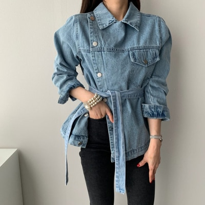 Estilo coreano a estrenar chaqueta de mezclilla clásica para mujer Camisetas irregulares de cintura cinturón de encaje delgado para mujer abrigo de manga larga moda Streetwear