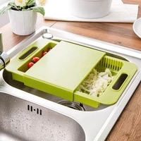 cutting board multifunction chopping board drain basket with handle vegetables fruits storage sturdy multicolors durable kitchen