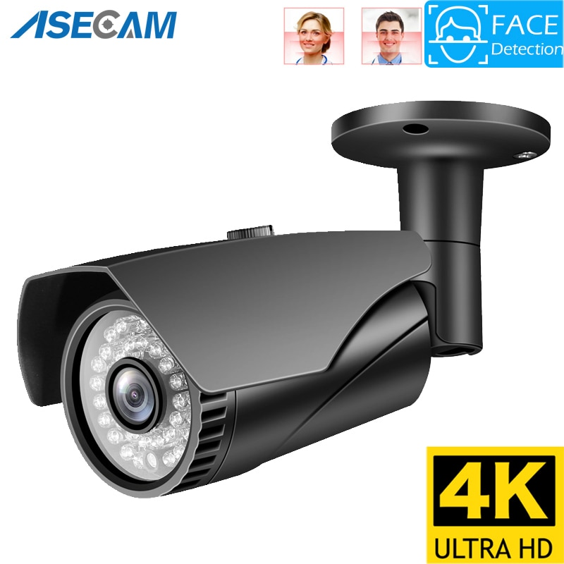 8MP 4K IP Camera Outdoor Ai Face Detection H.265 Onvif gray Bullet CCTV Night Vision IR 5MP POE Human Security Camera Xmeye
