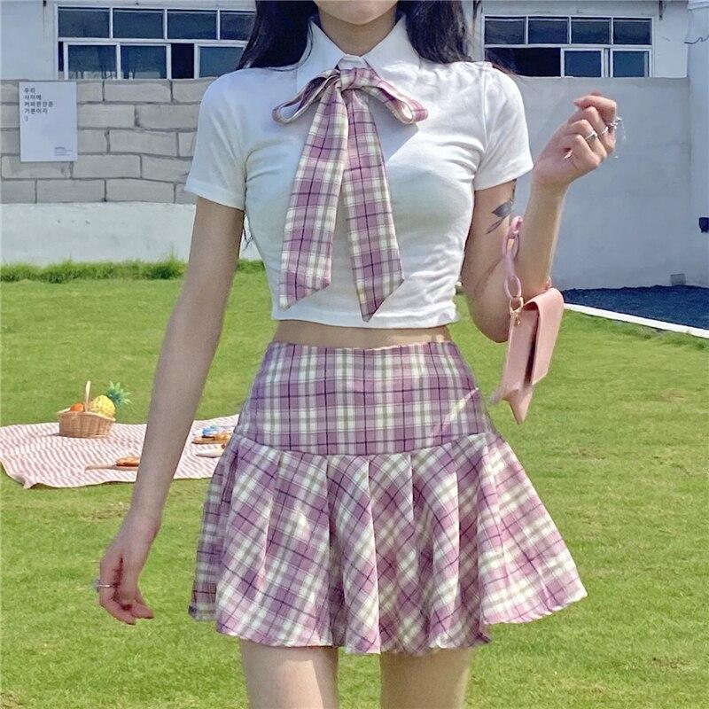 اليابانية الصيف موضة JK موحدة منقوشة دعوى Kawaii القوس قميص أبيض لطيف مطوي تنورة عالية الخصر عطلة قطعتين مجموعة