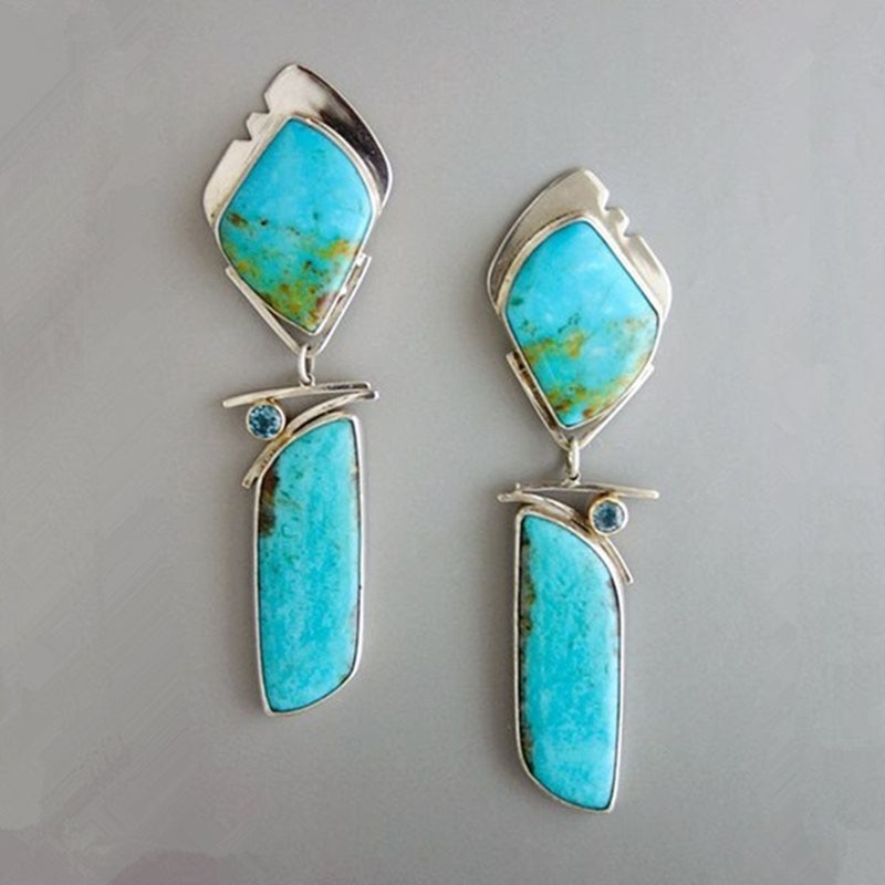 Bohemian Vintage Turquoises Blue Stone Drop Earrings Tribal Jewelry Peculiar Delicate Banque Women's Earrings Accessories Z4P550