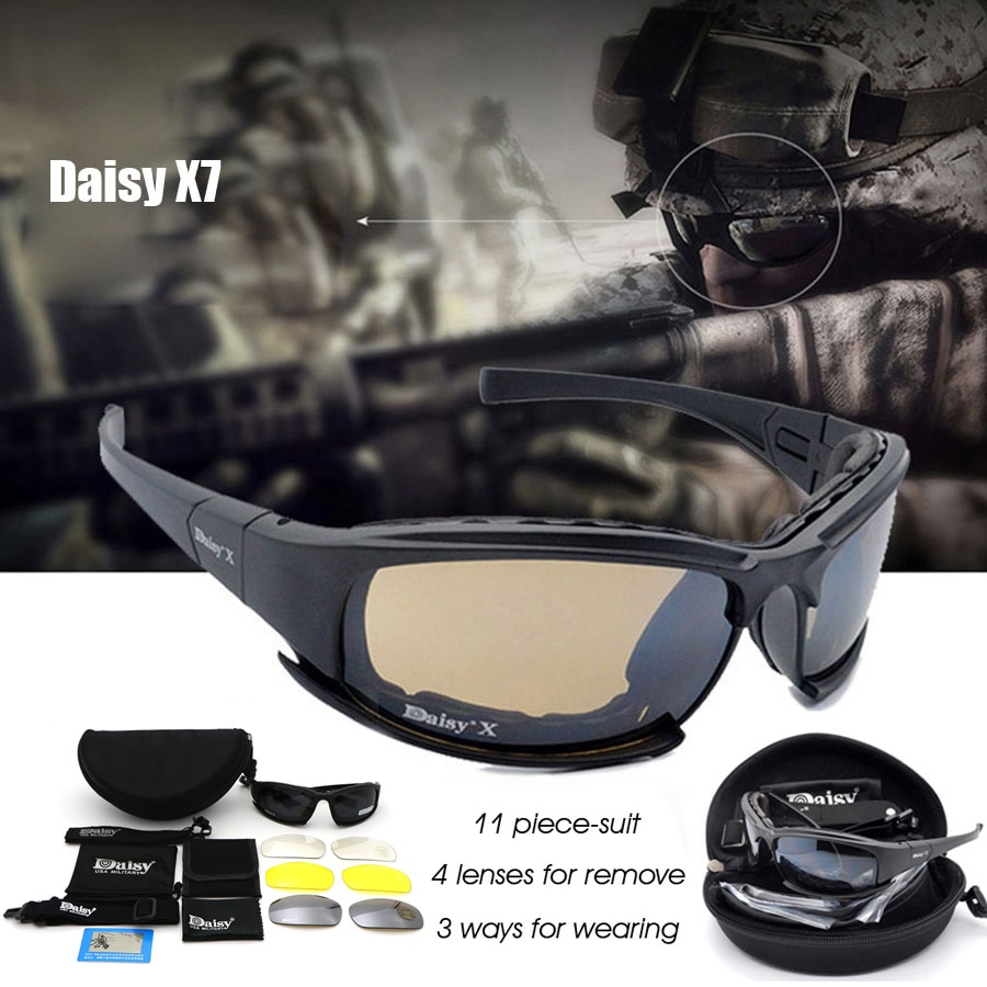 Daisy X7 Military Goggles Bullet-proof Army Polarized Sunglasses 4 Lens Hunting Shooting Airsoft Eye