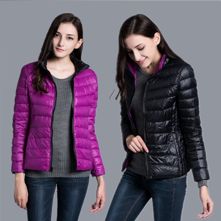 Jaqueta feminina ultra leve para baixo jaqueta feminina pena duplo lado windbreaker reversível leve casaco parques