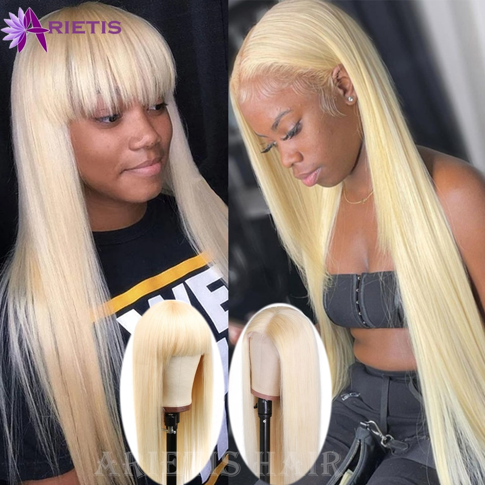 613 Blonde Peruvian Remy Straight Lace Front Human Hair Wigs For Women 8-30 Inch Mid-Part Frontal Wig Full Machine Wig with Bang