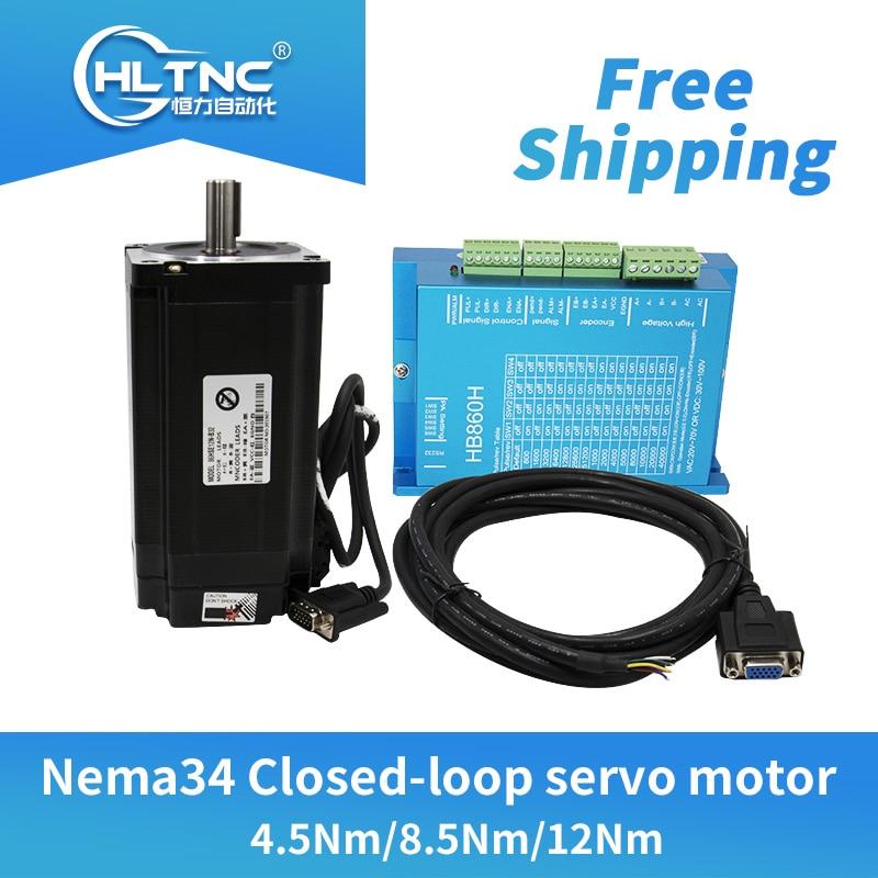 Free shipping  Nema34 Closed-Loop stepper dc Motor 6A 4.5N.m/8.5Nm/12Nm+2-Phase & HB860H Hybrid Step-servo  Driver For CNC
