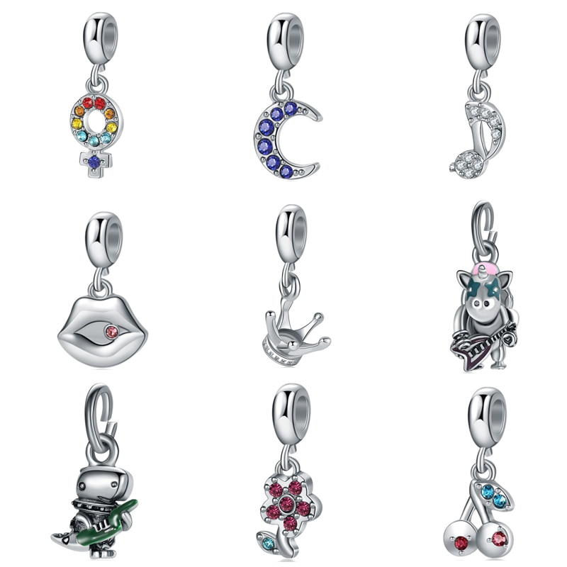 beautiful sailor moon crystal bracelet 925 silver bangle charms anime cosplay jewelry for girls women card captor sakura Silver Color Crystal Moon Crown Hand Heart Charms Pendant Fit Pandora Charms Bracelets Handmade Jewelry for Women Girls Gift
