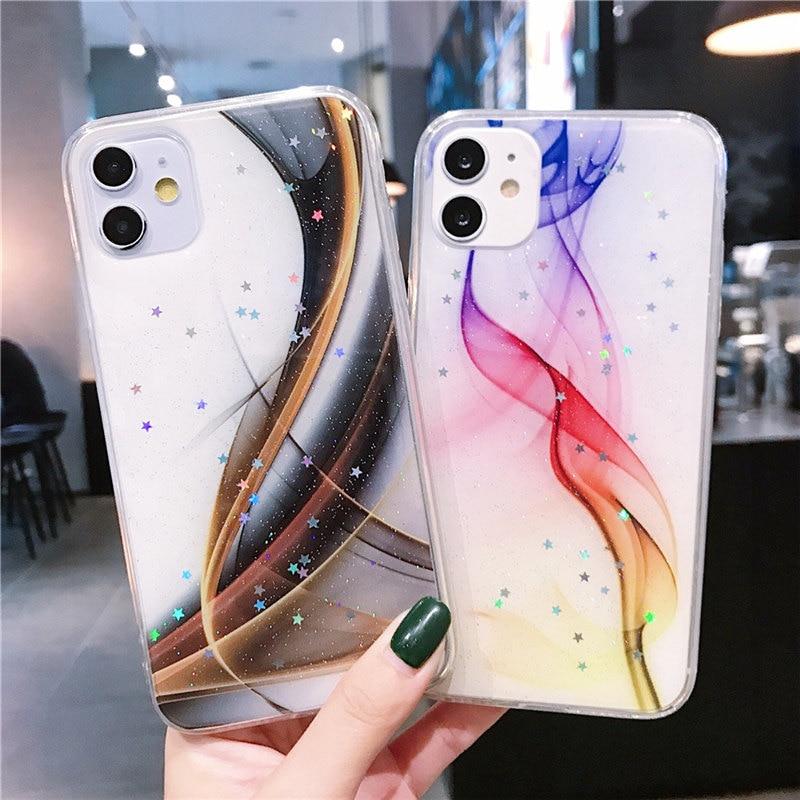 Funda de estrellas con purpurina de Color degradado de lujo para Huawei Nova 6 SE 5 5i 7i 5T P Smart Plus 2019 Honor 10 Lite funda de mármol suave para teléfono