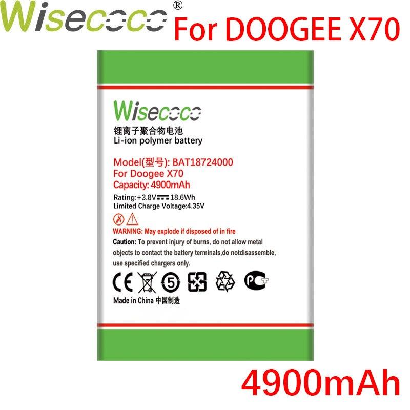 Wisecoco bat18724000 4900mah bateria para doogee x70 x 70 telefone móvel de alta qualidade bateria + código rastreamento