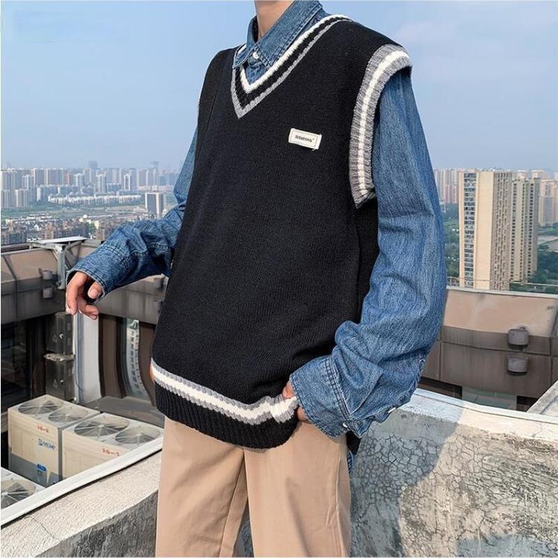 Мужской свитер жилет с рисунком из лоскутков, с v-образной горловиной, свободного покроя, мода мужчины досуг шикарная Корейская Стиль вязаны...