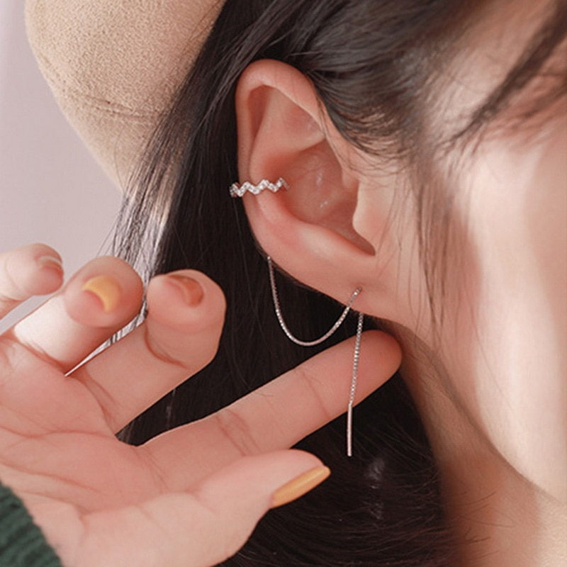 DW 1 PC Ear Clip Long Tassel Earrings for Women 2020 Zircon Cuff Earring Line Fashion Jewelry Gift