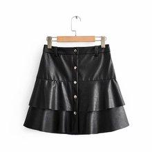 Nouveau femmes vintage en cascade volants en cuir PU mini jupe faldas mujer dames simple boutonnage décontracté vestidos chic jupes QUN526