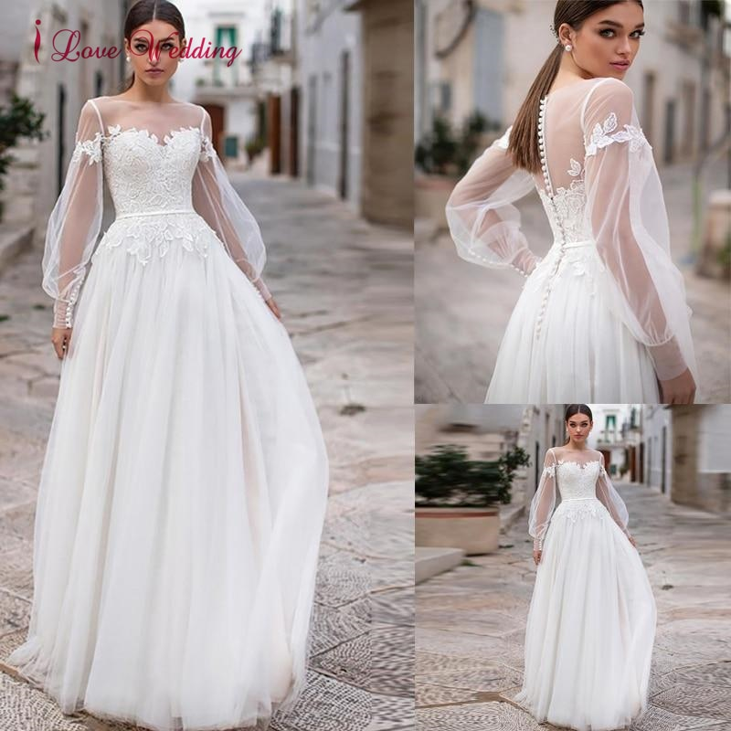 Get Boho Beach Lace Wedding Dress Long Puffy Sleeves Illusion Button Back A-Line Bride Dresses Princess Long Wedding Gowns 2021