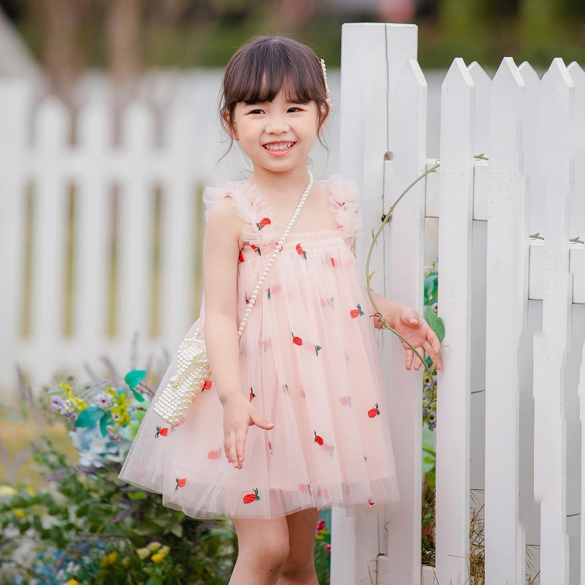 Детское платье, платье для девочек, Модное детское платье принцессы с цветами для маленьких девочек, без рукавов, сарафан, летняя одежда, дет... сарафан для девочек