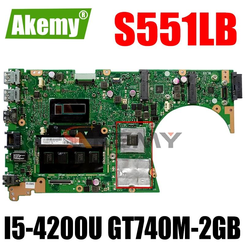 Akemy S551LB اللوحة لابتوب ASUS S551LB S551LN S551L اللوحة الأصلية 4GB-RAM I5-4200U GT740M-2GB
