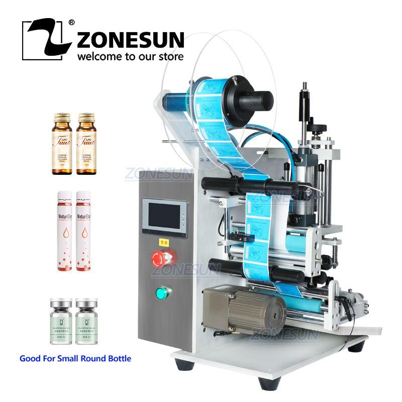 ZONESUN Semi Automatic Desktop Vial Small Plastic Reagent Round Bottle Pen Single Double Sides Labeling Machine Label Applicator