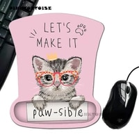 pinktortoise carton mousepad creative glasses cat silicone mousepad wrist rest support mice mouse pad playmat
