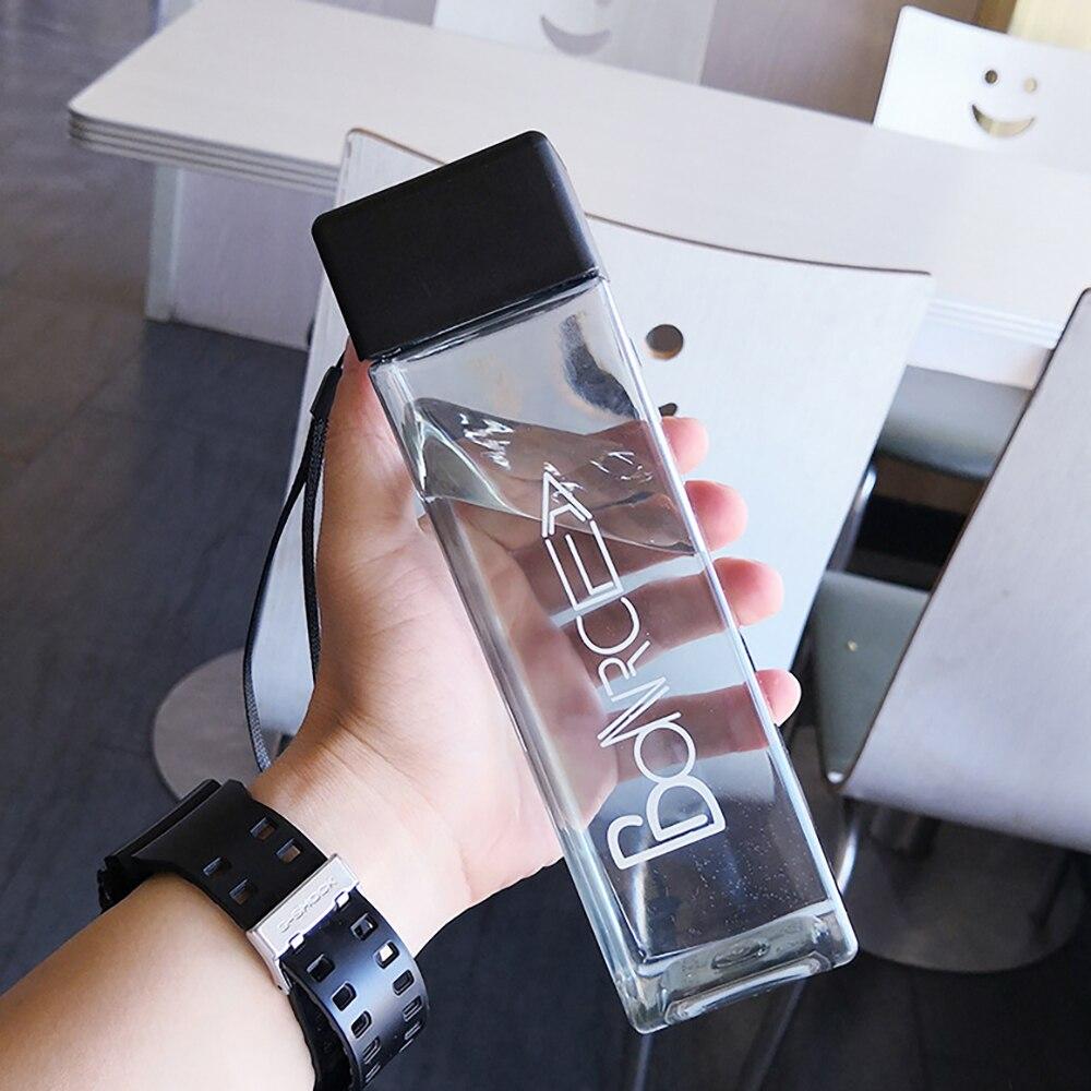 Милый Квадратный Стакан для чая, молока, фруктов, воды, бутылки для воды, напиток с веревкой, прозрачный спортивный корейский стиль, термостойкий, Лидер продаж