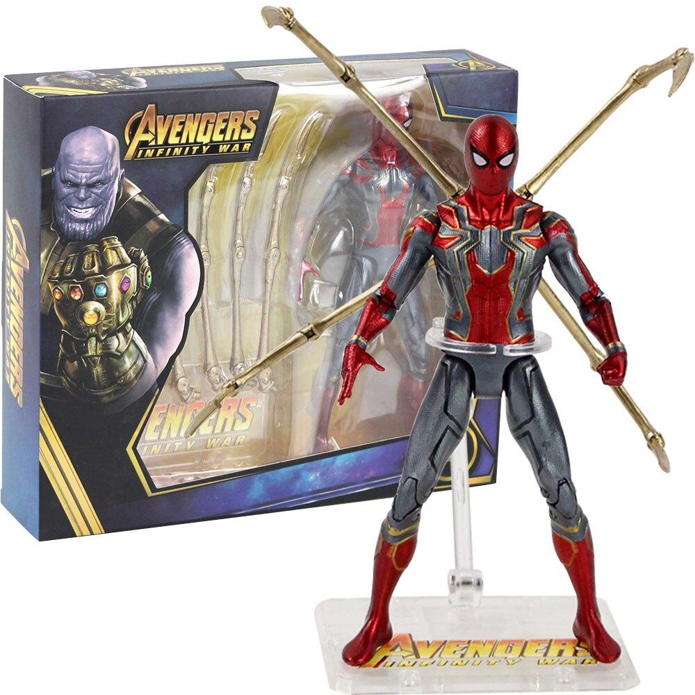 17cm vengadores infinito guerra hierro araña Spiderman figura móvil juguetes PVC Super héroe colección modelo muñeca