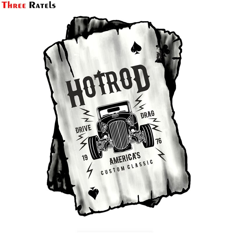 Three Ratels FC7 B & W Ace jugando a las cartas con diseño de la vieja escuela americano Hot Rod Rat Rod motivo vinilo coche etiqueta engomada del coche
