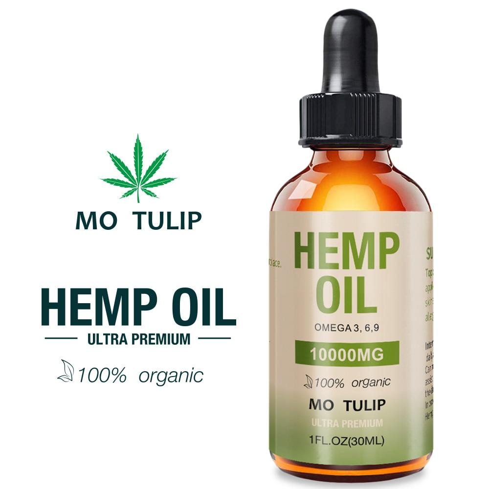 Aceite Esencial orgánico de cáñamo CBD de 30ml y 10000mg de motulipán, aceite de semillas de cáñamo, gotas de hierbas, aceite para aliviar el estrés, cuidado de la piel, ayuda a dormir