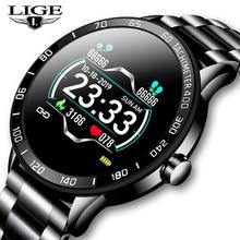 Lige novo relógio inteligente dos homens pedômetro freqüência cardíaca monitor de pressão arterial cinto aço à prova dwaterproof água esporte modo multifunções