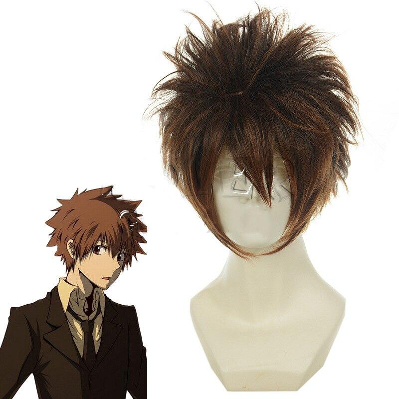 Kateкё Hitman Reborn Sawada Tsunayoshi парик для косплея короткий коричневый микс пушистые термостойкие волокна волос костюм парик Perucas