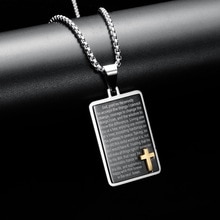 HNSP 316L Stainless Steel Necklace Tag Chain Cross Pendant For Men Neck High Quality Jewelry Gifts 2