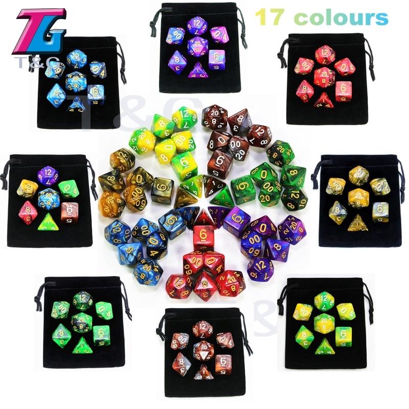 7pcs  Promotion  2-color Dice Set Nebula effect poker d&d d4,d6,d8,d10,d%,d12,d20 Polyhedral Dice, rpg game dice  with bag