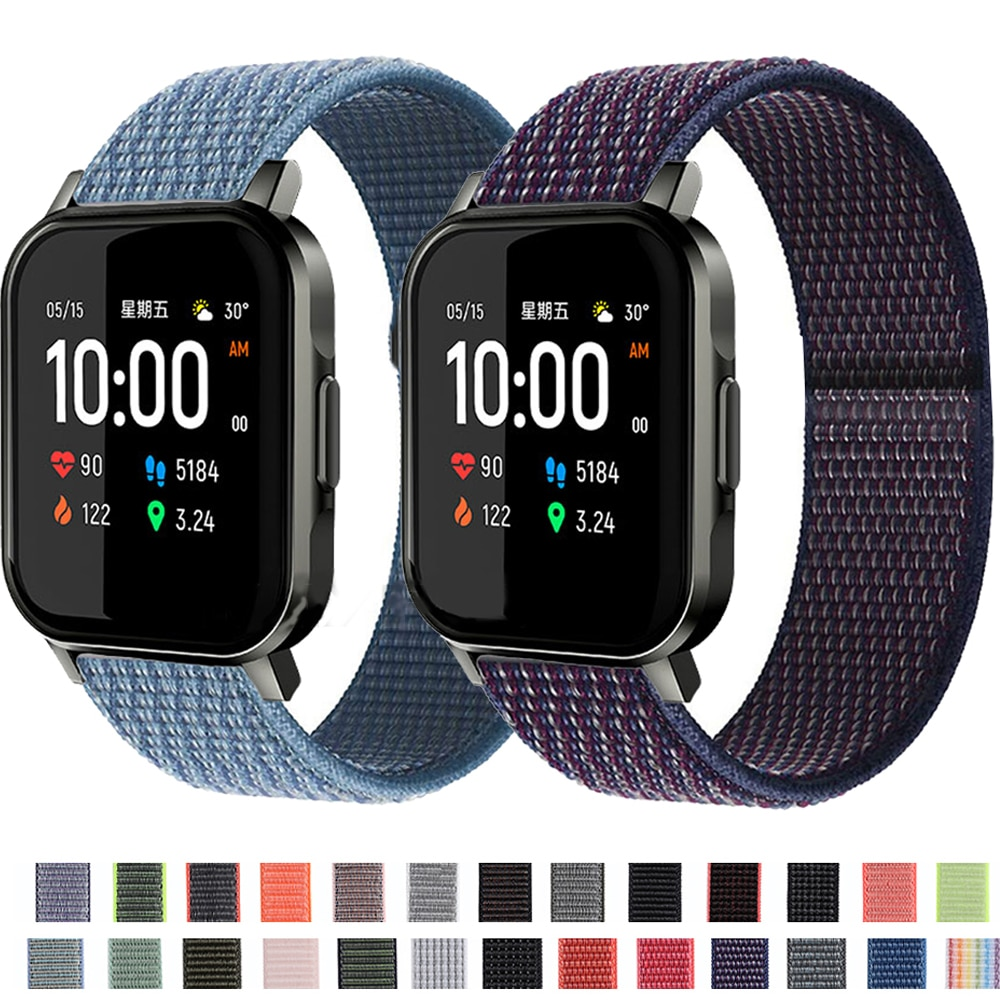 20MM Nylon Loop Band For Xiaomi Haylou LS02 Smart Watch Sports Bracelet For Amazfit Bip Lite S U GTS