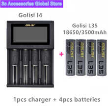 4pcs GOLISI L35 IMR 18650 3500mah CDR 10A MAX 20A E-CIG rechargeable battery with Golisi I4 charger Smart Charger LCD Display
