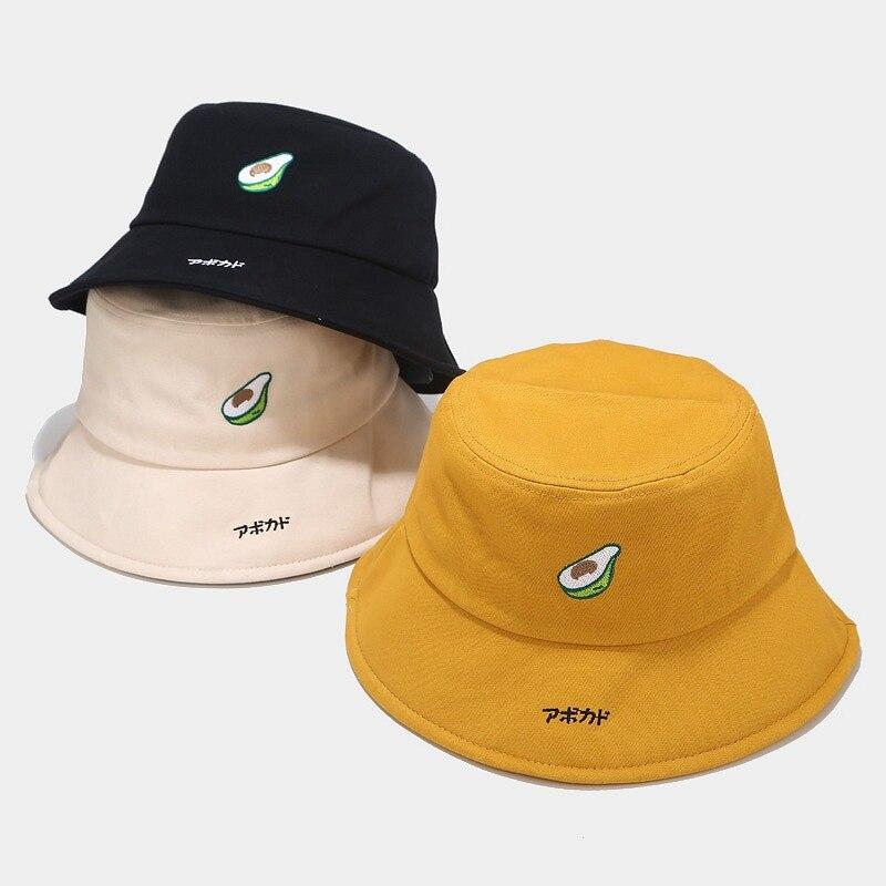 ¡Novedad de 2020! sombrero de pescador de aguacate para hombres y mujeres, gorro coreano bonito desenfadado con diseño de dibujos animados para mujer, gorros de cubo para estudiantes de arte japonés