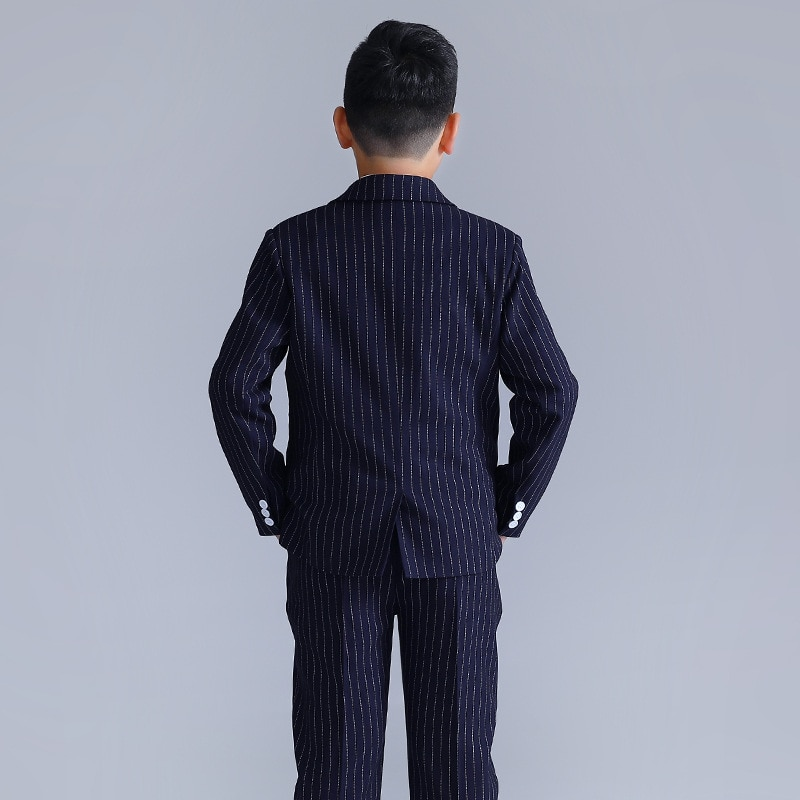 Boy Overweight Striped Suit Jacket Kids Plus Size Double Breasted blazer Vest Pants Child Formal Dress Suits Teens Clothes Sets enlarge