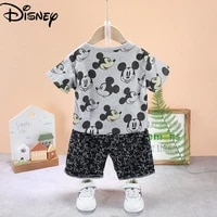 disney summer fashion new 2021 pure cotton breathable cartoon print western two piece short sleeve suit