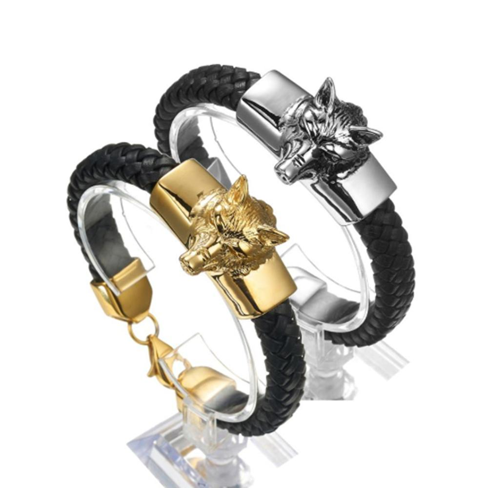"Punk Silver Color/Gold Biker Wolf Head Stainless Steel Biker Jewelry Black Genuine Leather Gift Men's Bracelet Wristband 8.26"""