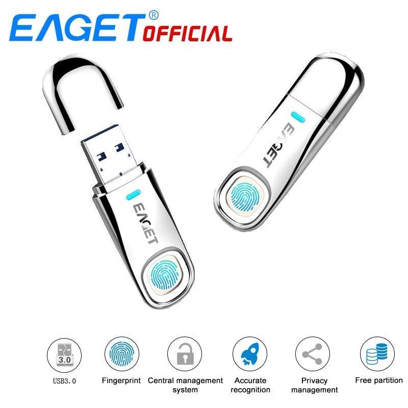 EAGET FU60 32GB 64GB High-speed Anerkennung Fingerprint Verschlüsselt Hohe tech Stift Stick Sicherheit Memory USB 3,0-Sticks
