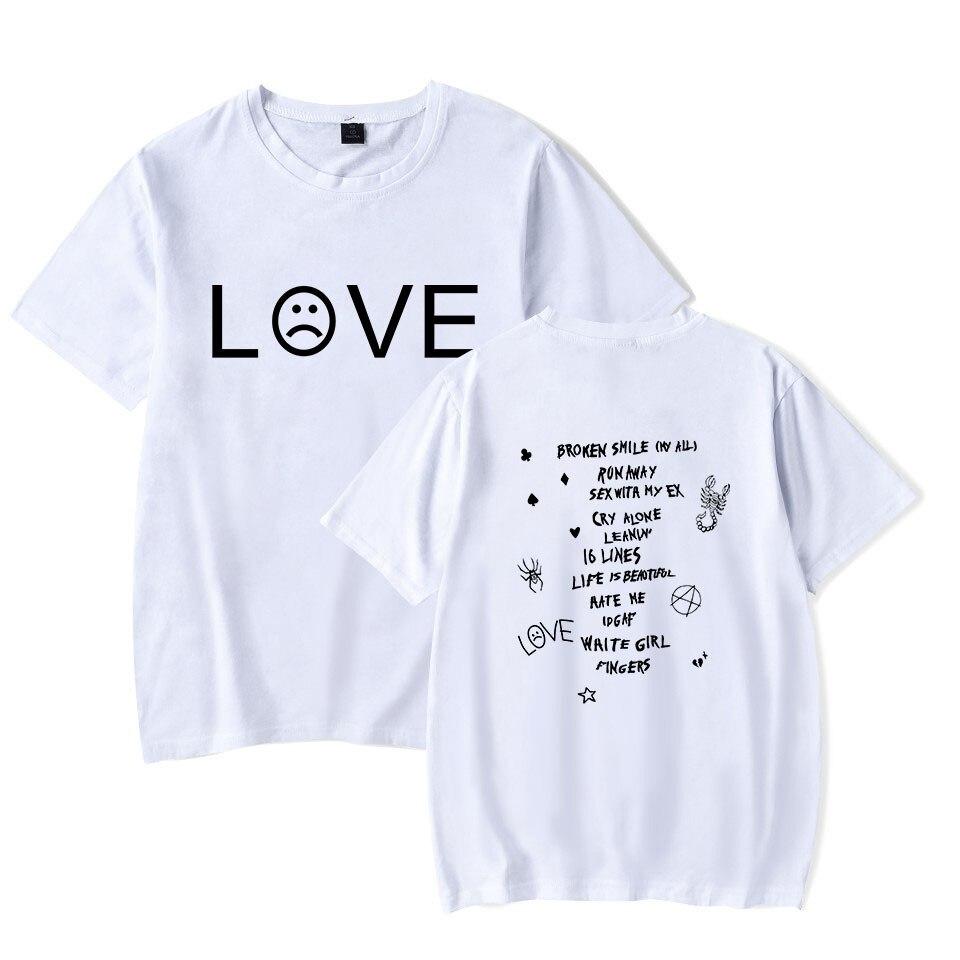 Camisa de Grandes Dimensões T Streetwear Hip Hop Rapper Lil Peep T Camisa Hellboy Tshirts Dos Homens/Mulheres Rap T Gráfico Camisa Impressão Ocasional Curto
